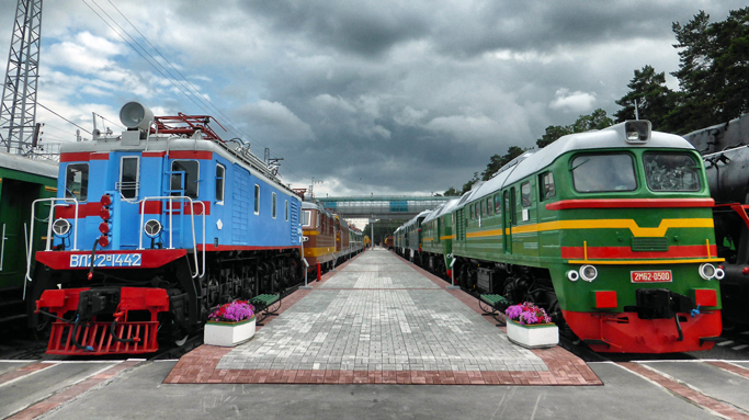 Old Tran-Siberian train in Novosibirsk