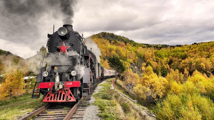 Train on the Trans-Siberian railway
