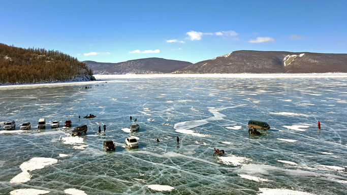 Frozen Khuvsgul lake in winter, Northern Mongolia