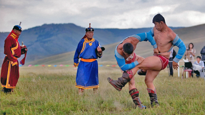 Mongolian wrestling, Naadam festival, Mongolia