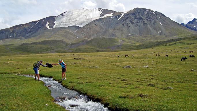 Trekking in the Kharkhiraa mountains, Western Mongolia