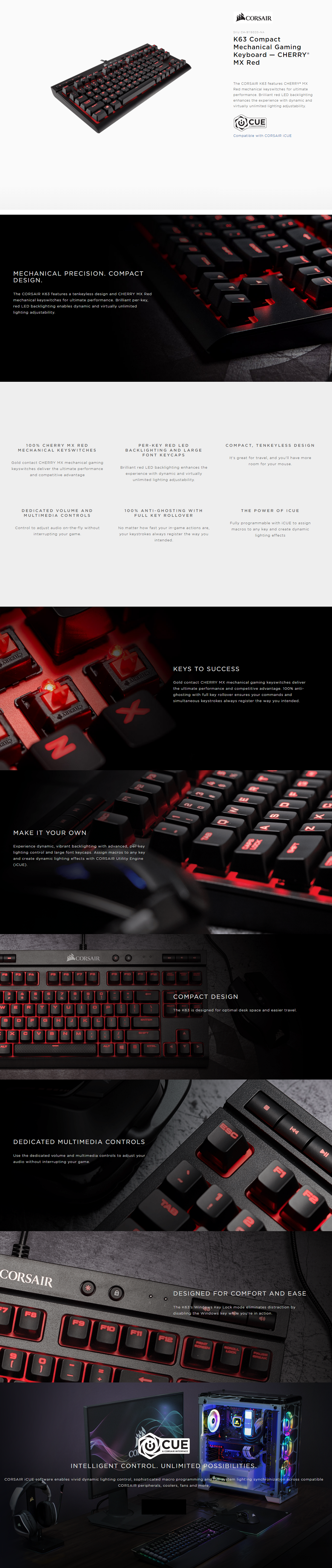 CORSAIR K63 (CH-9115020-NA) Cherry MX Red Compact Mechanical Gaming Keyboard
