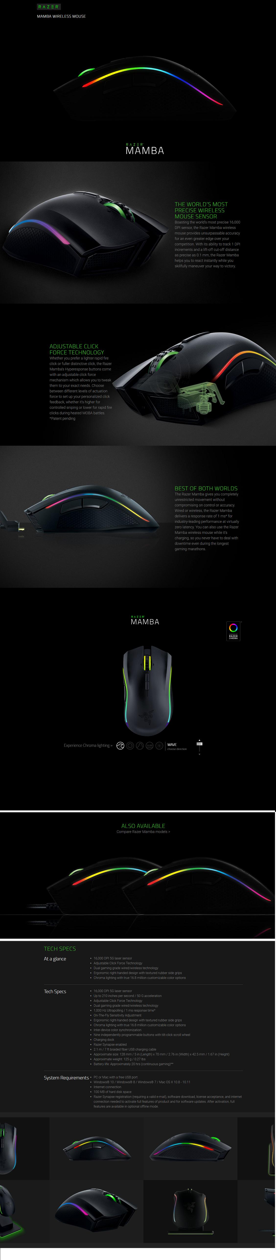 Razer Mamba 16000-Wireless RZ-MAMBA-1600 Chroma Ergononic Gaming Mouse