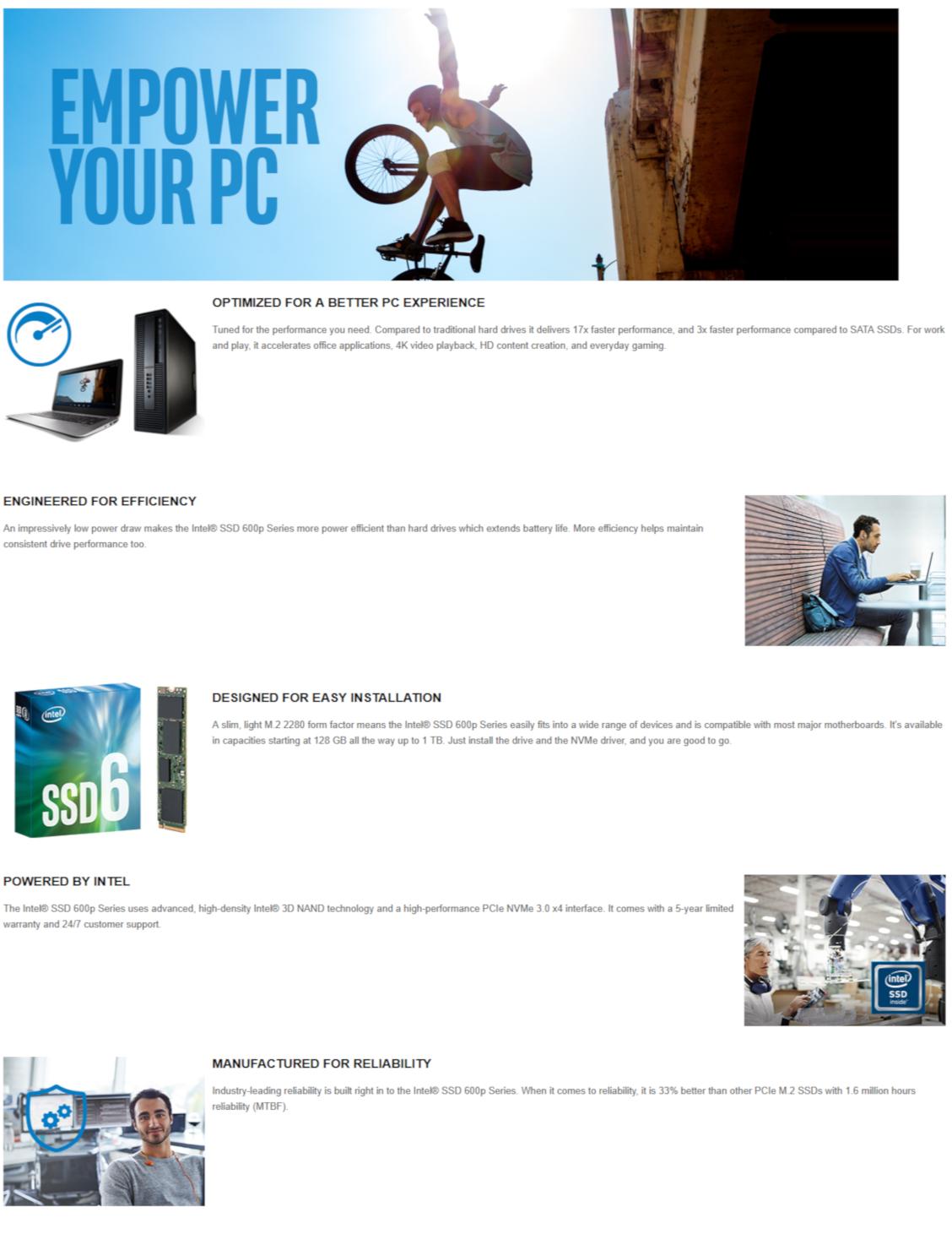Intel 600p Series SSDPEKKW010T7X1 1TB M 2 PCIe NVMe SSD (Solid State Drive)