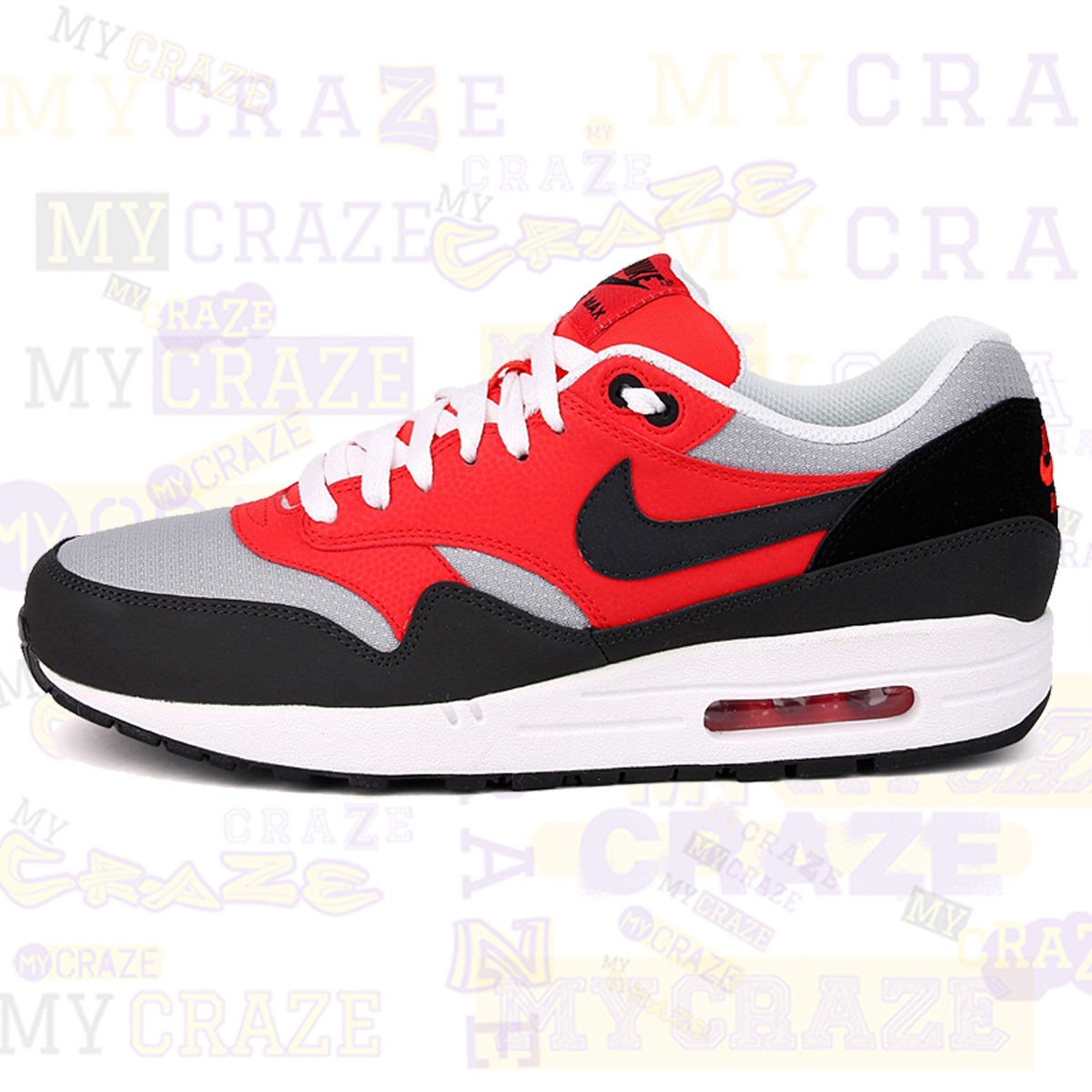 Nike Air Max 1 Essential Red Black Mens Sneakers Shoes - MyCraze 0ded09023a