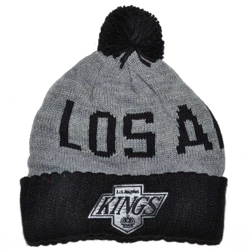 ad7fcaaa00a LOS ANGELES KINGS MITCHELL   NESS NHL GREY POM POM BEANIE ...