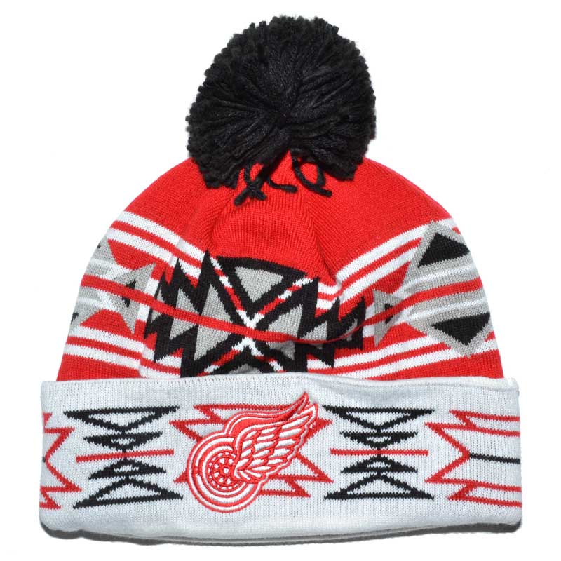 0d3a1f6d556 ... get detroit red wings mitchell ness nhl pom pom team beanie mycraze  09e27 2fdc6