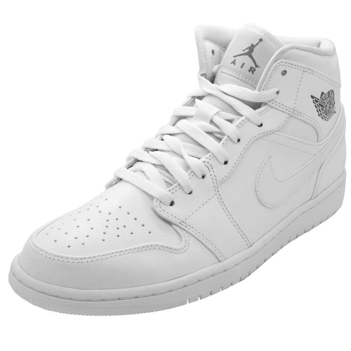half off 8f995 7d995 NIKE AIR JORDAN RETRO 1 MID White MENS SNEAKERS 554724-102