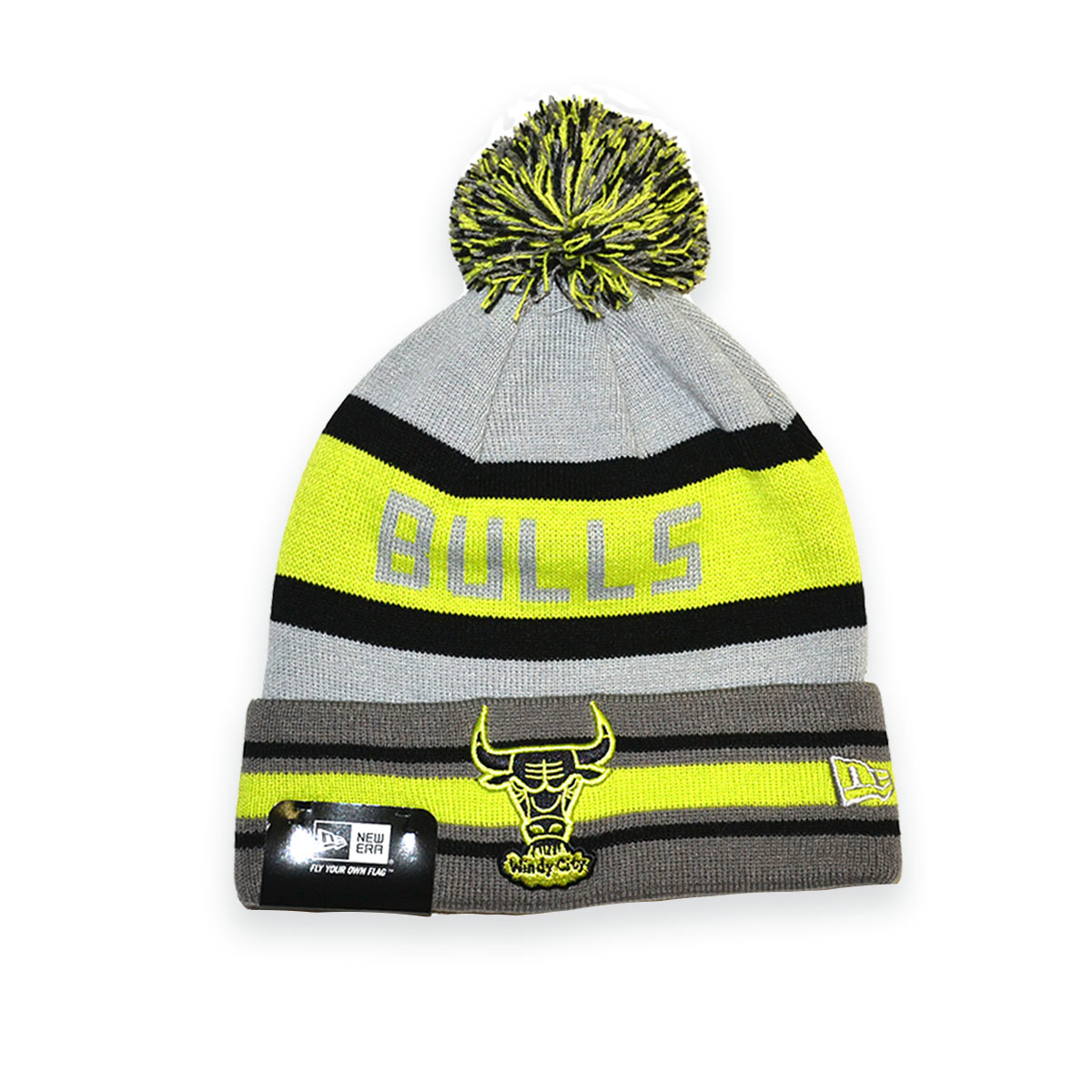 2adbf8661bd NEW ERA NBA CHICAGO BULLS GREEN GREY LOGO BEANIE HAT - MyCraze