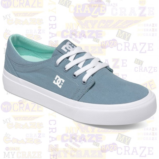 Sale DC SHOES WOMENS TRASE TX CASUAL BLUE CANVAS SNEAKERS ...