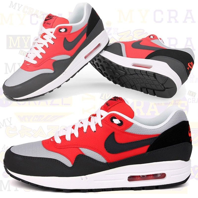 Nike Air Max 1 Essential Red Black Mens Sneakers Shoes