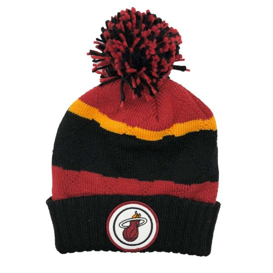 sports shoes 86e45 da411 Sale MIAMI HEAT MITCHELL   NESS NBA CUFFED POM BEANIE KS49Z ...