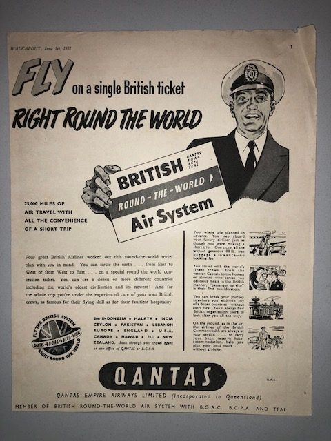 1952 Vintage Train City Ticket Office Martin Place Sydney Qantas Walkabout Ad  MyCraze