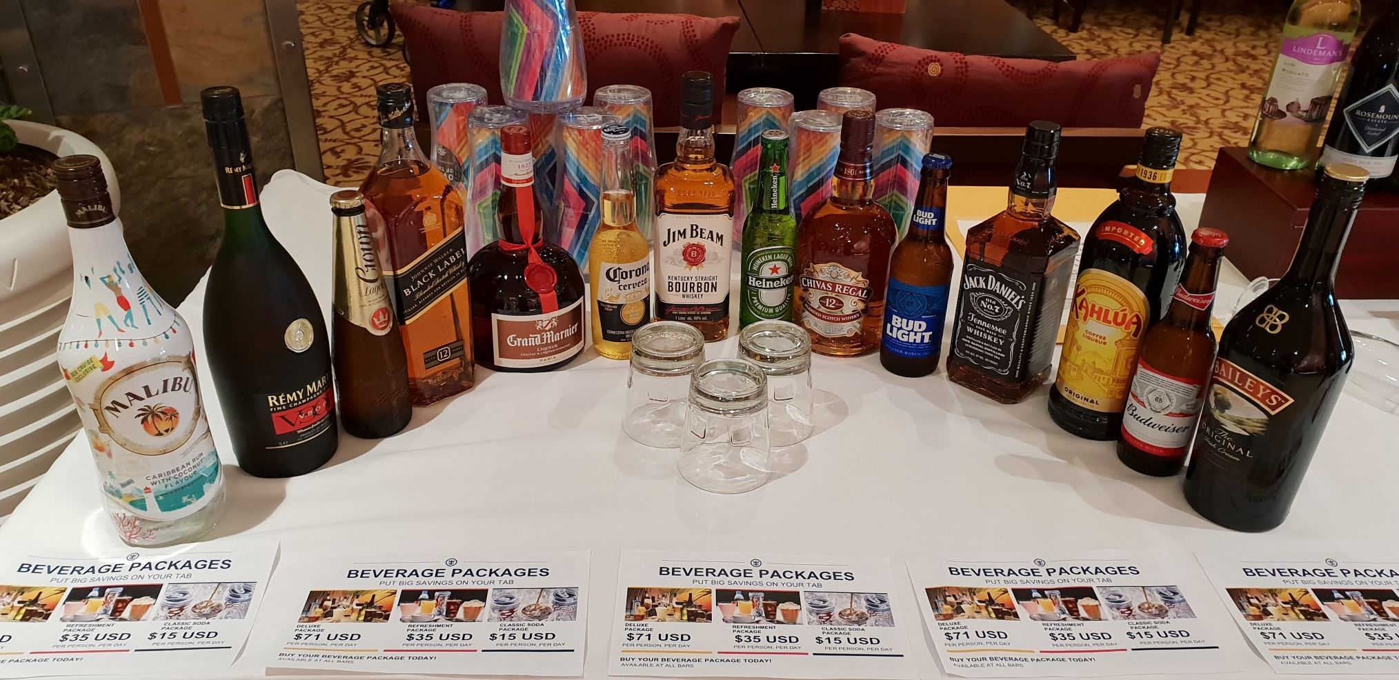 Drinks packages Ovation of the Seas. Picture: Alison Godfrey