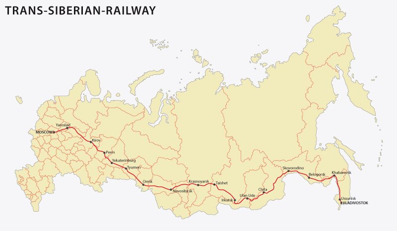 The Trans Siberian Railway map.