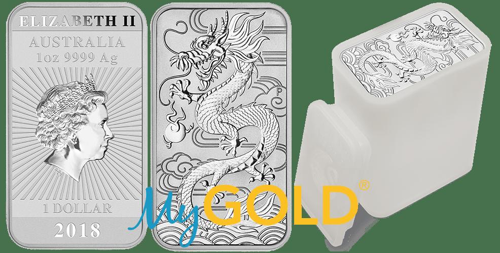 Buy 1oz Perth Mint Silver Rectangular Dragon Bullion Bars in New Zealand