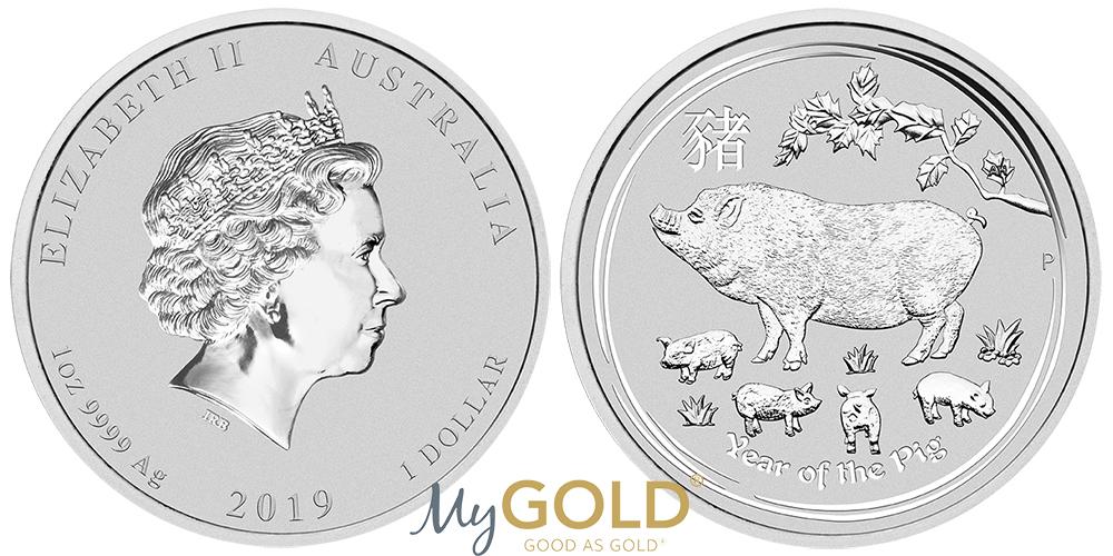 1oz Perth Mint Silver Lunar Year of the Pig 2019 Coin