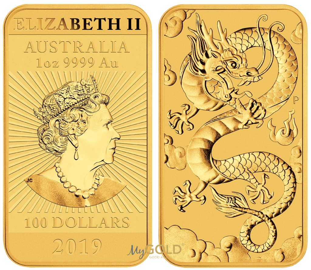 Buy 1oz Perth Mint Gold Dragon Coin Bar in New Zealand.