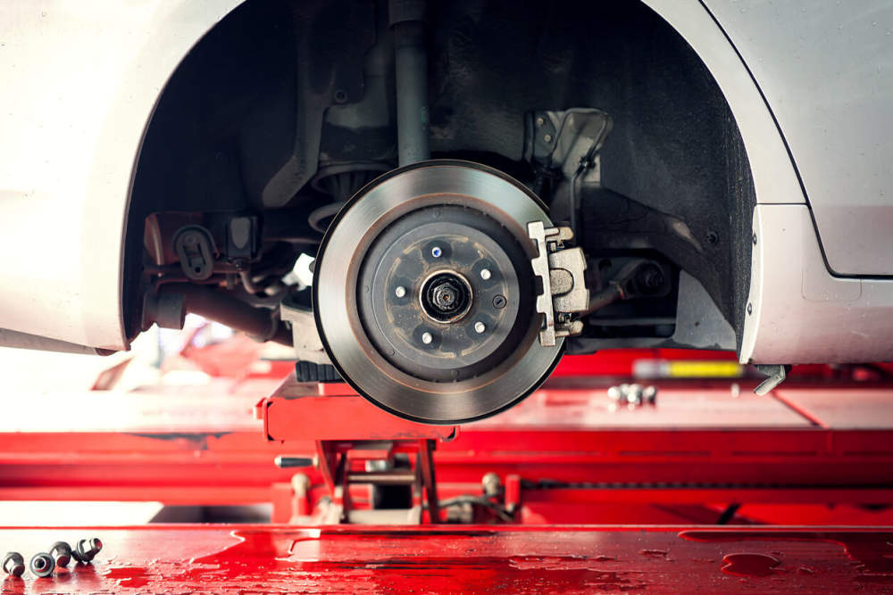 Car brakes in a workshop for service.