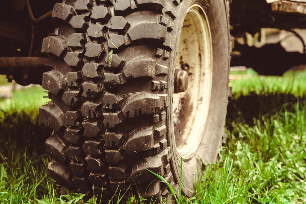 Close up image of a mud terrain tyre.