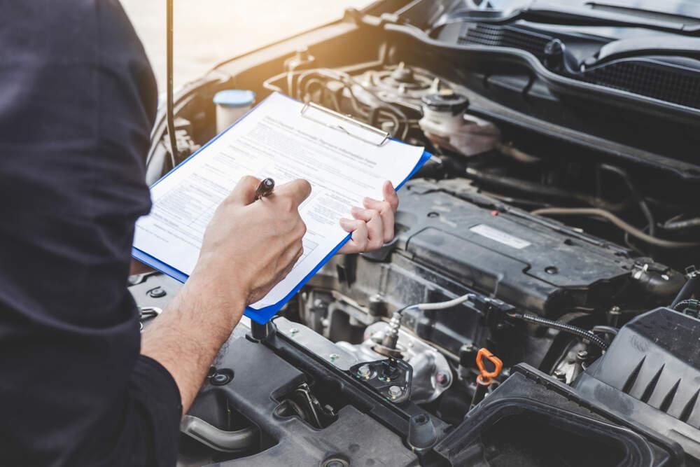 Technician conducting a log book service on a car.