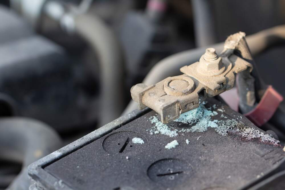Corroded car battery terminal.