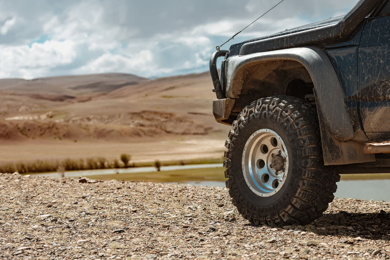 Billet alloy wheels in a heavy duty design for off-road use.