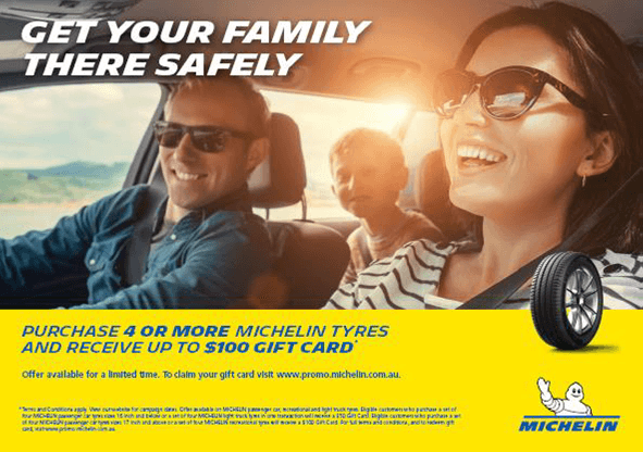 Buy 4 Michelin Tyres and receive up to a $100 gift card.