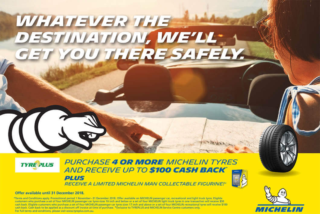 Buy 4 or more tyres from our selected range at TYREPLUS BALLINA and receive up to $100 cash back!