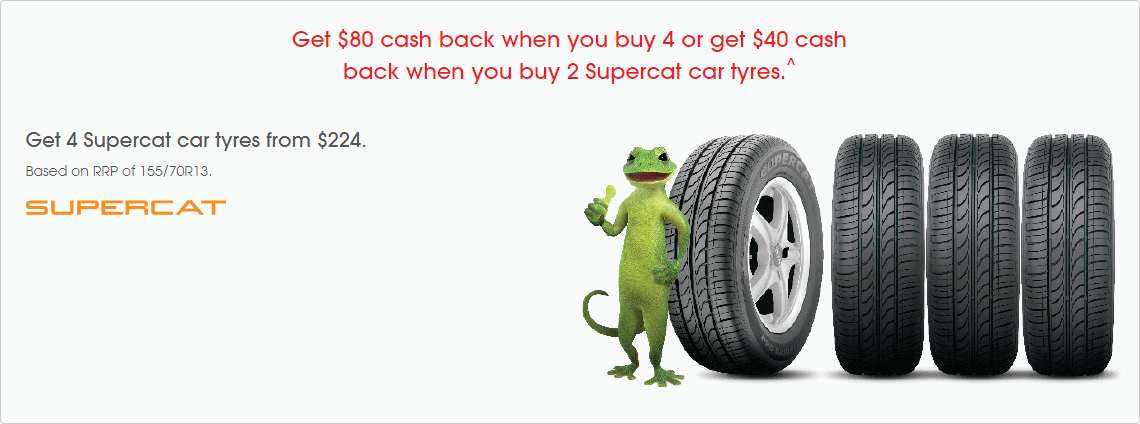 Cash back on Supercat car tyres