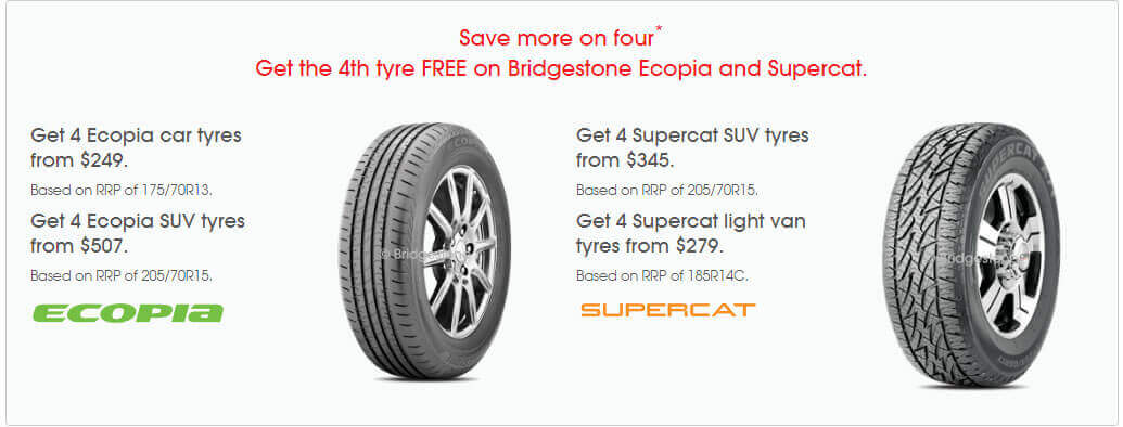 Get the 4th tyre FREE on Bridgestone Ecopia and Supercat Tyres