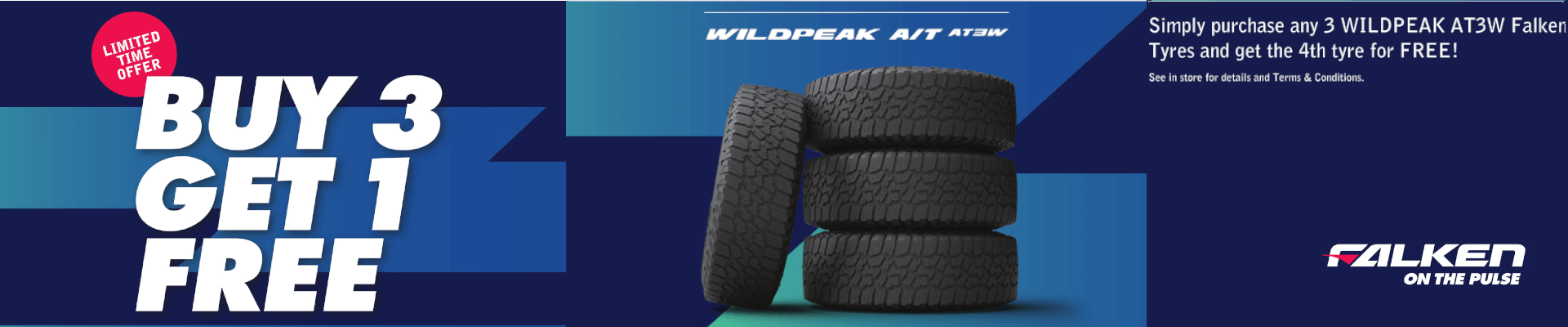 Buy 3 Wildpeak A/T AT3W Tyres and get 1 free