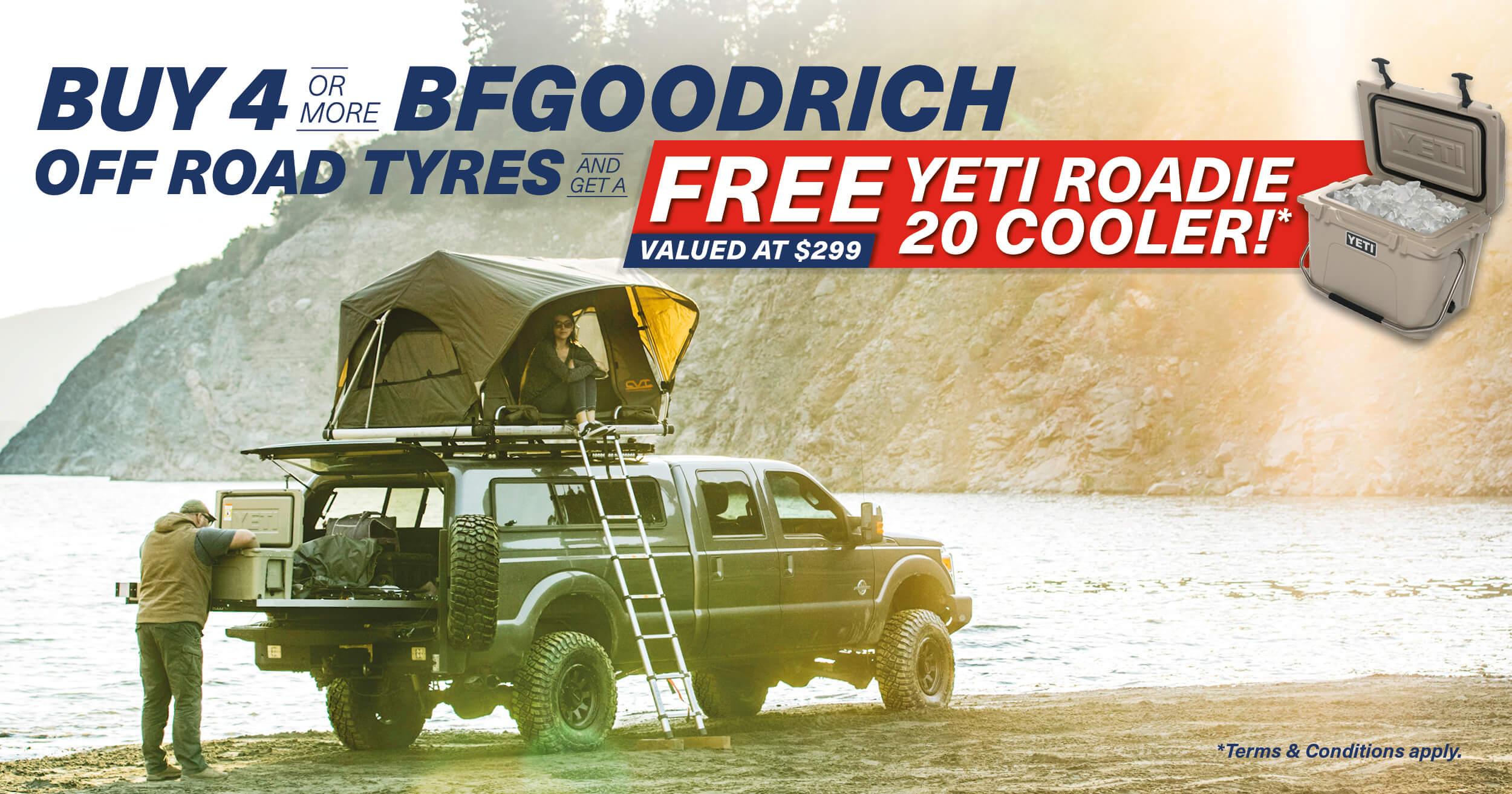 Buy 4 or more tyres from our selected range at TYREPLUS BALLINA and receive a free Yeti Cooler value at $299!