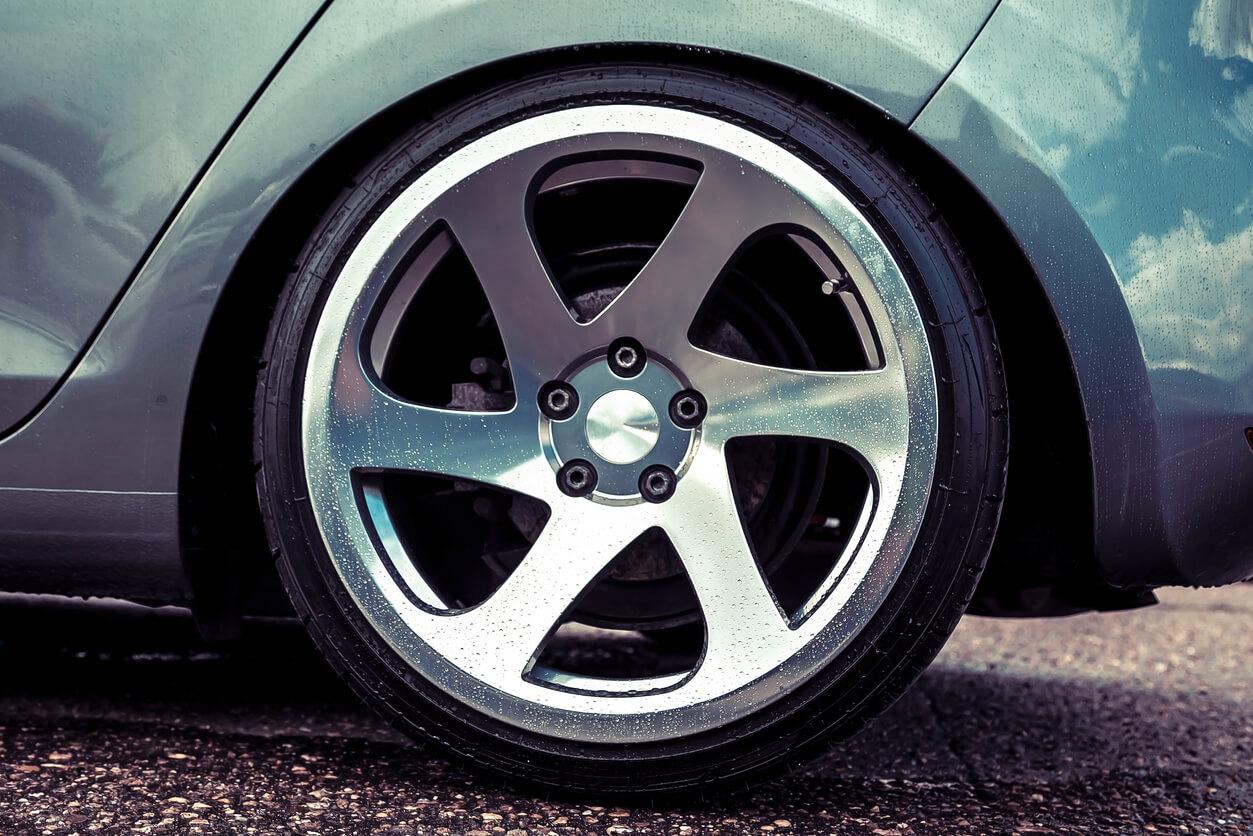 Polished silver wheels on a European car.