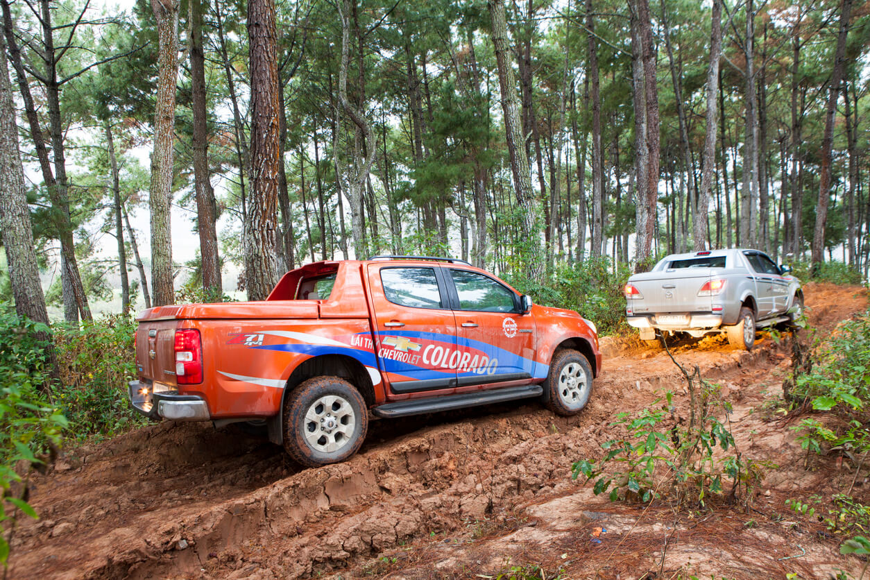 Two dual cab work utes on an offroad trail