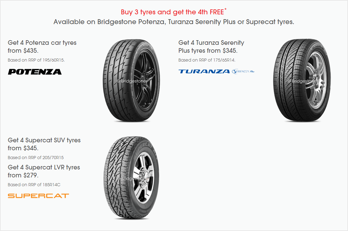 Get the 4th tyre FREE on Bridgestone Ecopia and Supercat Tyres