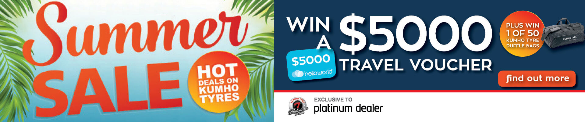 Kumho Tyre Summer Sale - Win $5000 Travel Voucher