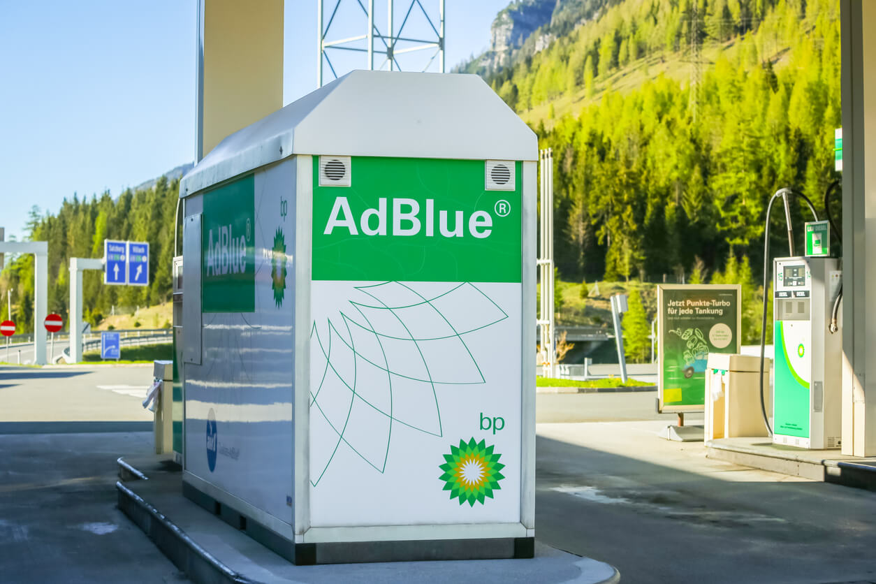 Adblue labelled bowser at fuel station