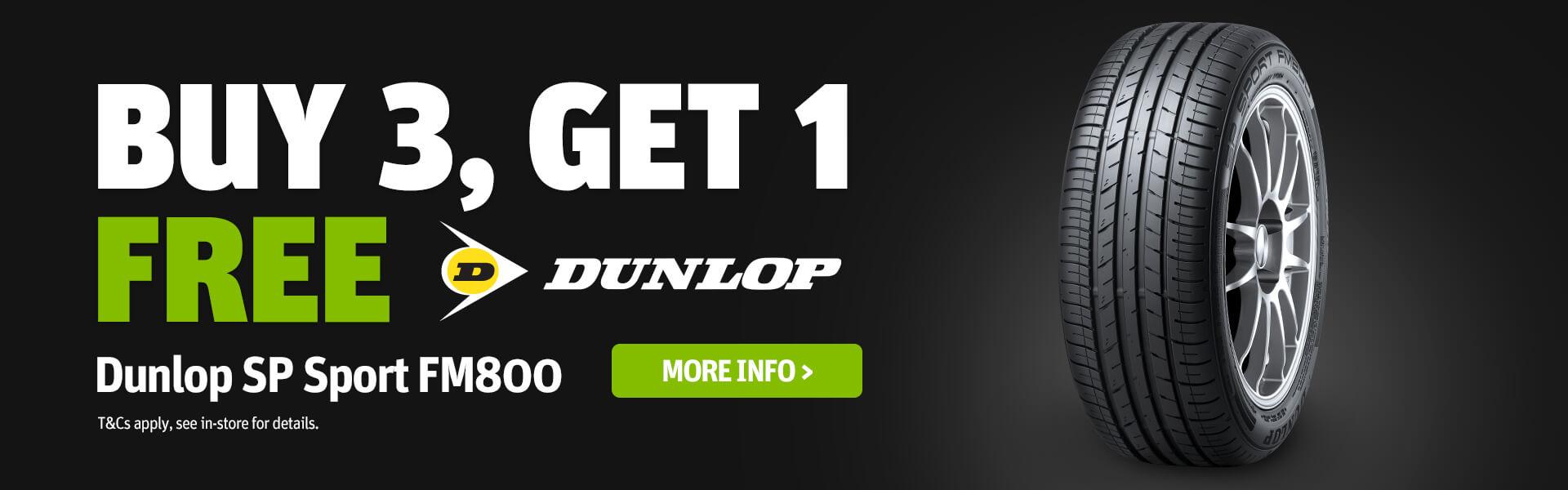 Buy 3 Get 1 Free Dunlop SP Sport FM800 Banner