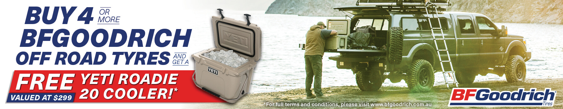 Buy 4 of more BFGoodrich off road tyres and get a FREE Yeti Roadie 20 cooler valued at $299!