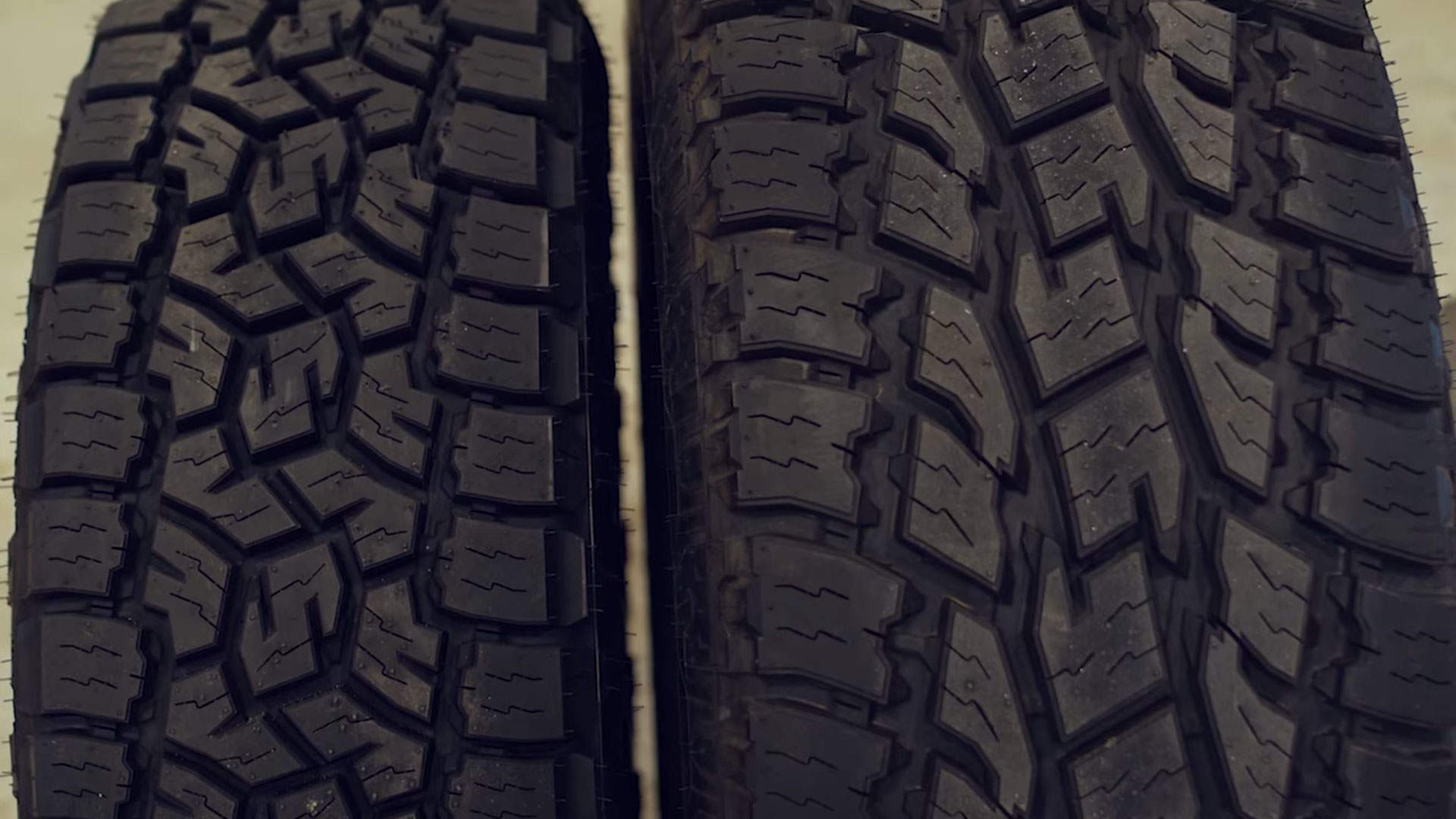 Toyo Open Country AT3 on the left, Toyo AT2 on the right