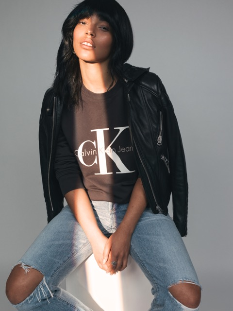 CK Reissue sweatshirt from ASOS, ACNE leather jacket, CITIZENS OF HUMANITY denim