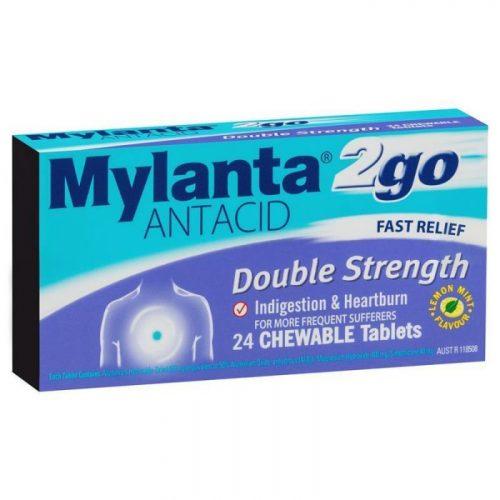 Mylanta 2go Antacid Double Strength Tablets 24 Pack