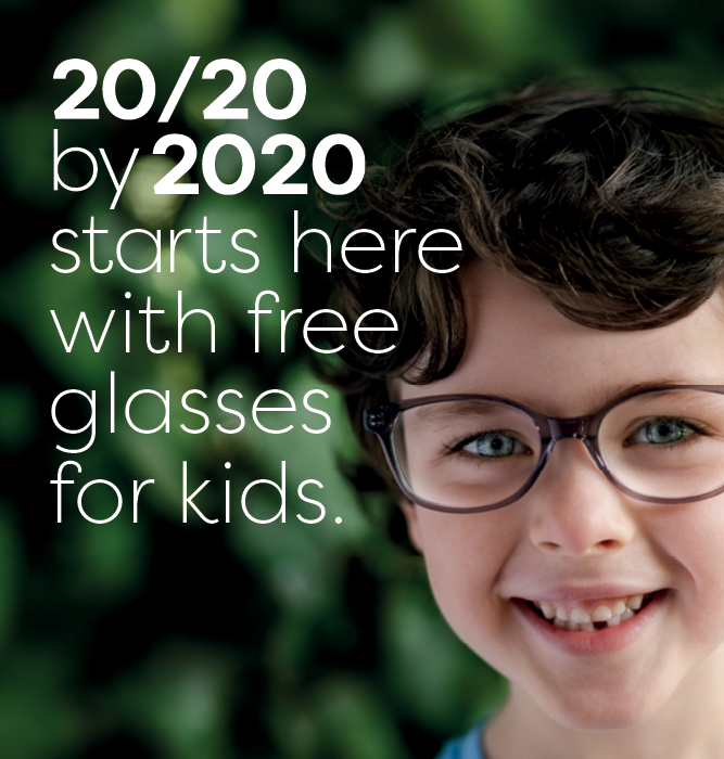 20/20 by 2020 starts here with free glasses for kids.