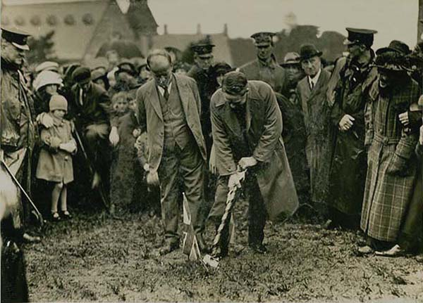 The Minister for Works turning the First Sod