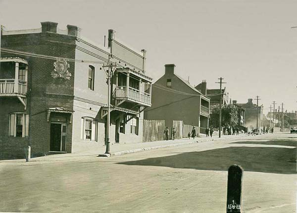 Looking up Blue Street from Walker Street. Field Office on left hand corner