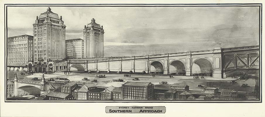 Sketch of the Sydney Harbour Bridge- Southern Approach