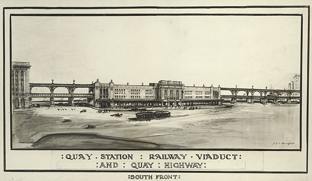 Sketch of South Front ofQuay Station Railway Viaduct and Quay Highway