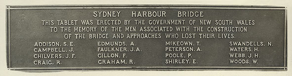 Photograph of Plaque -acknowledging those who lost their lives during the bridge construction