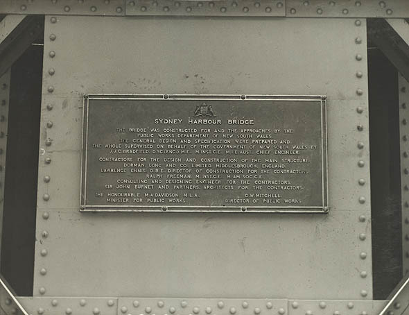 Photograph of Plaque -acknowledging contractors,engineers & architects for the Sydney Harbour Bridge